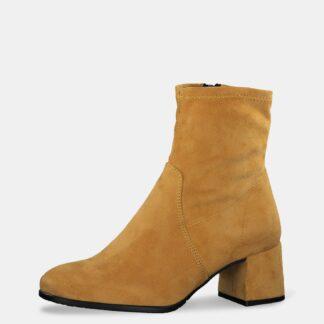 Hořčicové kotníkové boty v semišové úpravě Tamaris