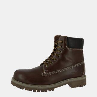 Tmavě hnědé pánské kožené kotníkové boty Tom Tailor