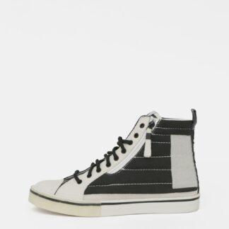 Černo-bílé pánské kotníkové tenisky s koženými detaily Diesel