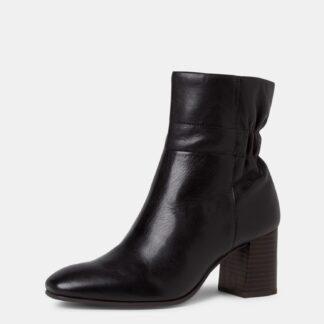 Tamaris černé kožené kotníkové boty na podpatku