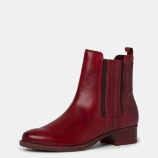 Tamaris červené kotníkové kožené boty
