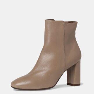 Tamaris béžové kotníkové kožené boty na podpatku