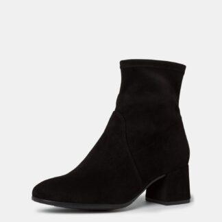 Tamaris černé kotníkové semišové boty na podpatku