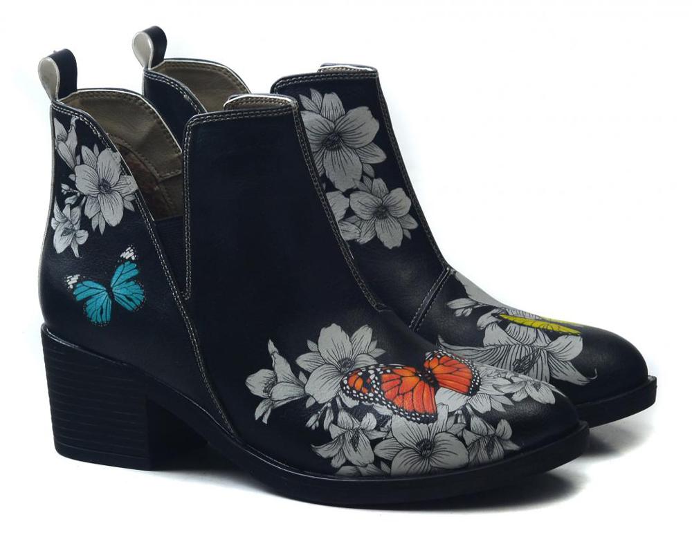 Goby černé kotníkové boty na podpatku Butterflies In The Garden