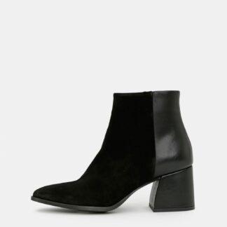 Černé kožené kotníkové boty se semišovými detaily VERO MODA Nola