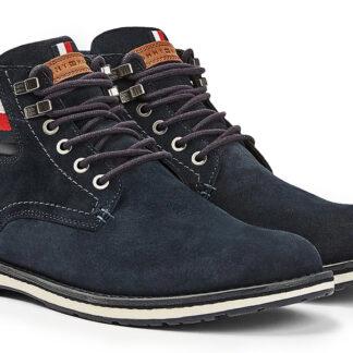 Tommy Hilfiger modré pánské kotníkové boty Outdoor Suede Hilfiger Boot Desert Sky