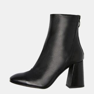 Černé kožené kotníkové boty VERO MODA Cilla