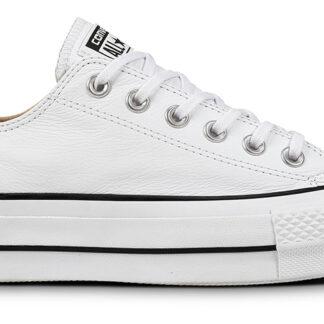 Converse bílé kožené tenisky na platformě Chuck Taylor All Star Lift