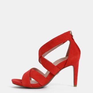 Tamaris červené semišové sandály na klínku