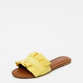 Žluté pantofle v semišové úpravě Pieces Nola