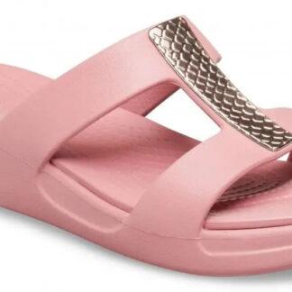 Crocs růžové pantofle na platformě Monterey Metallic Wedge