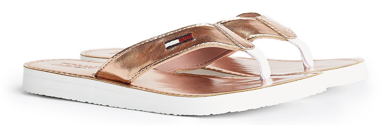 Tommy Hilfiger bronzové žabky Metallic Beach Sandal