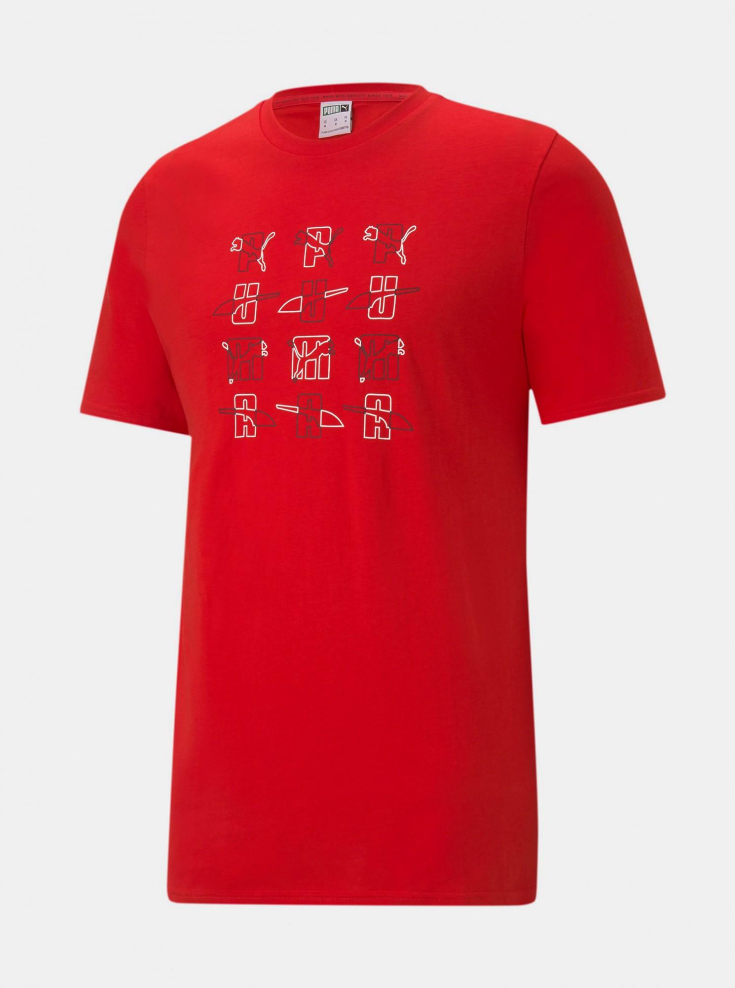 Puma červené pánské tričko s potiskem