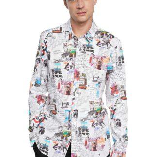 Desigual bílá pánská košile Cam Abelardo