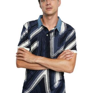 Desigual modré pánské tričko Polo Vincent