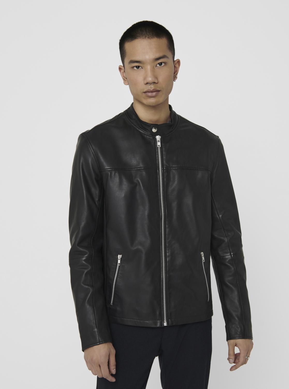 ONLY & SONS černá kožená bunda Dean