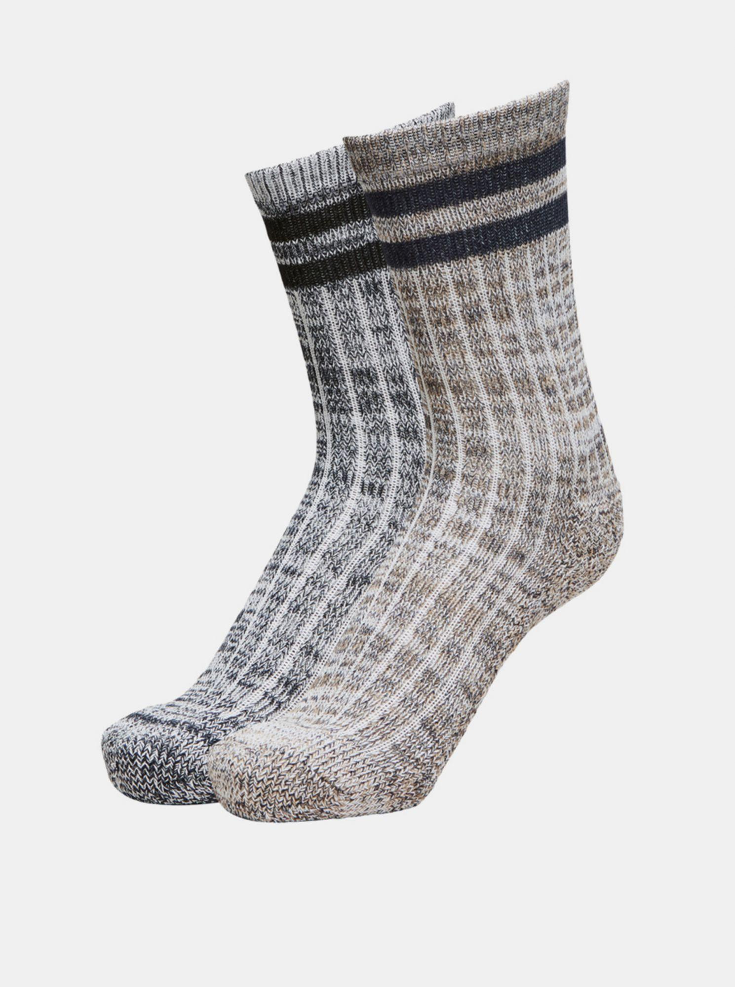 Selected Homme šedo-hnědý 2 pack ponožek