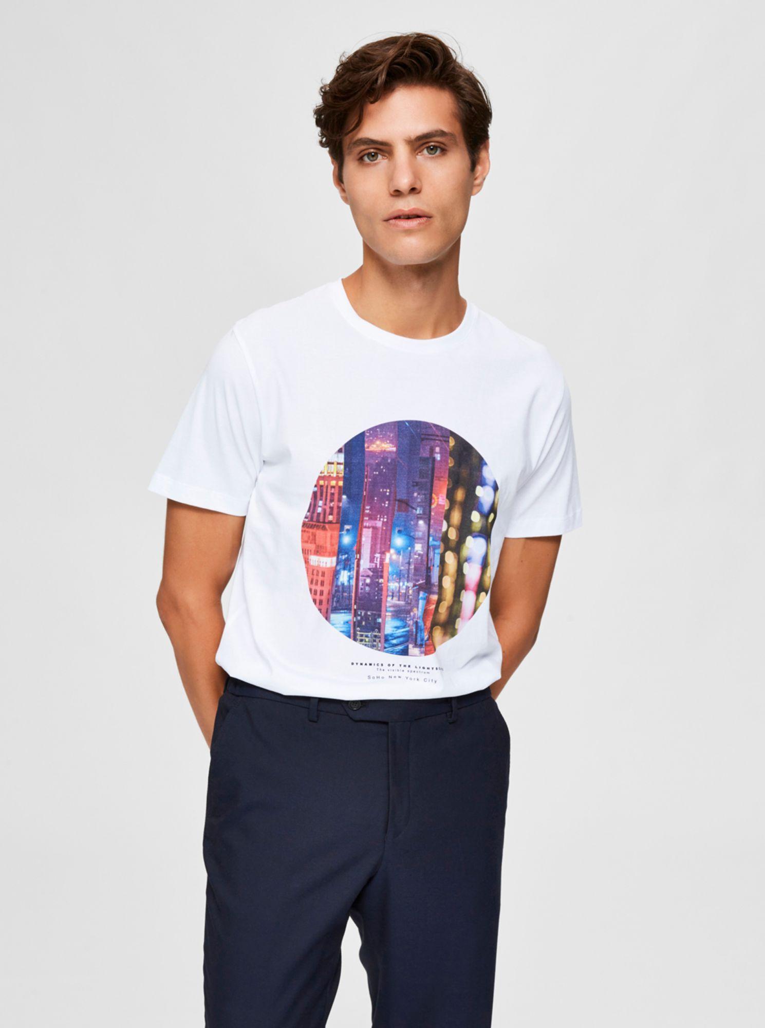 Selected Homme bílé pánské tričko s potiskem