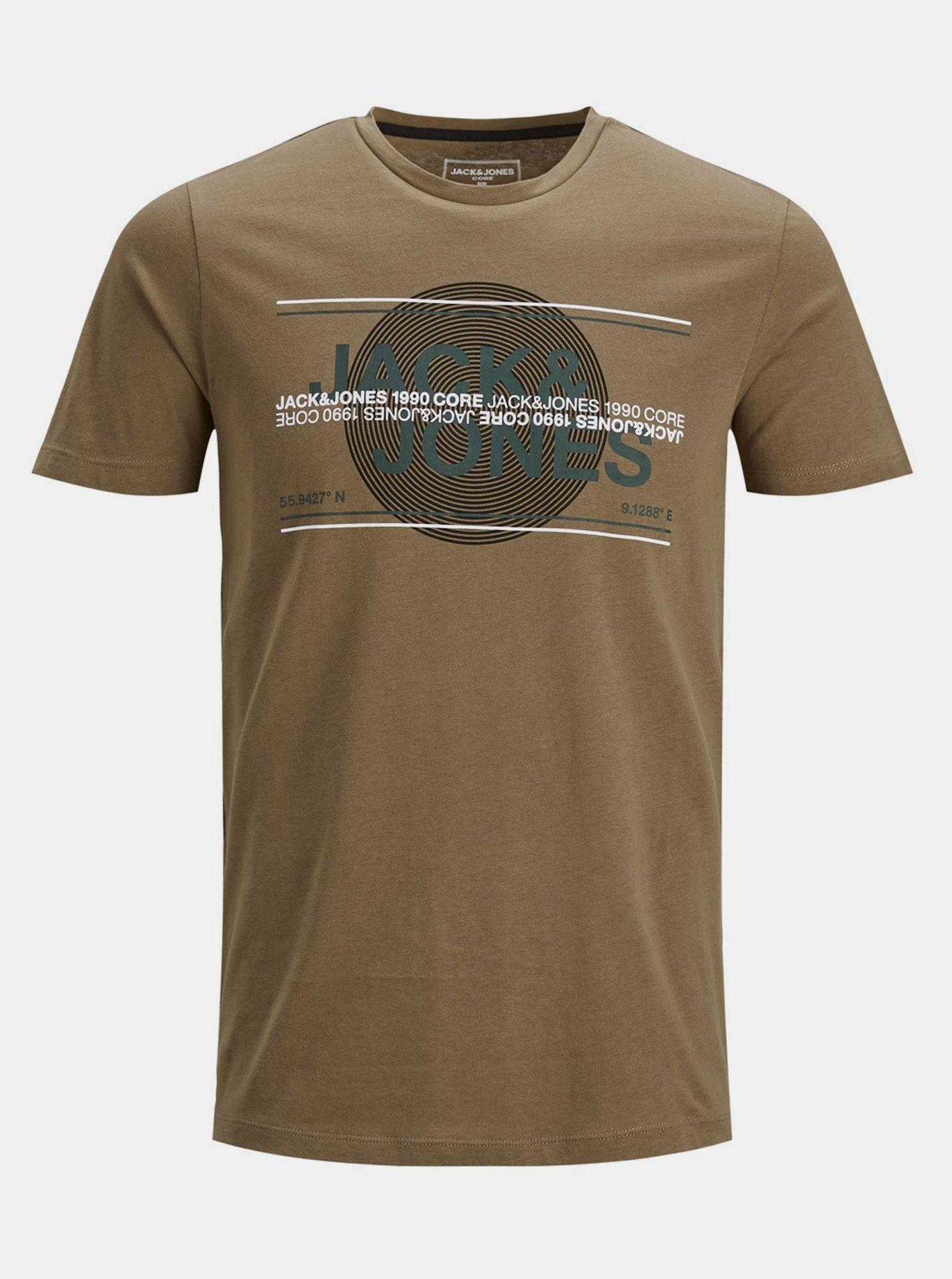 Jack & Jones hnědé pánské tričko s potiskem