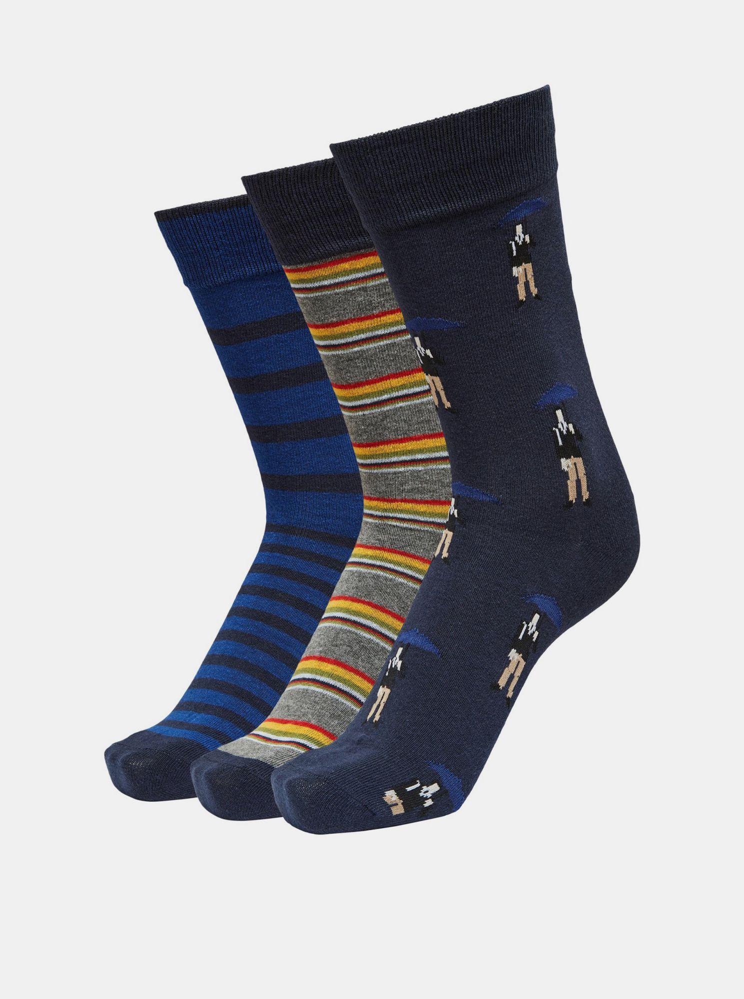 Selected Homme modrý 3 pack ponožek