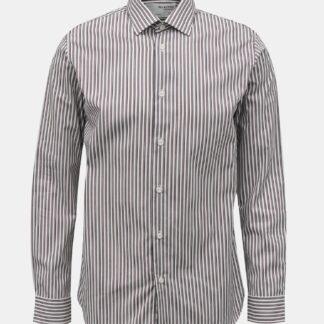 Selected Homme hnědo-bílá pruhovaná košile