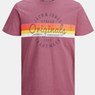 Jack & Jones růžové pánské tričko s potiskem