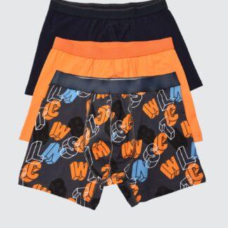 Trendyol 3 pack boxerek v černé a oranžové barvě