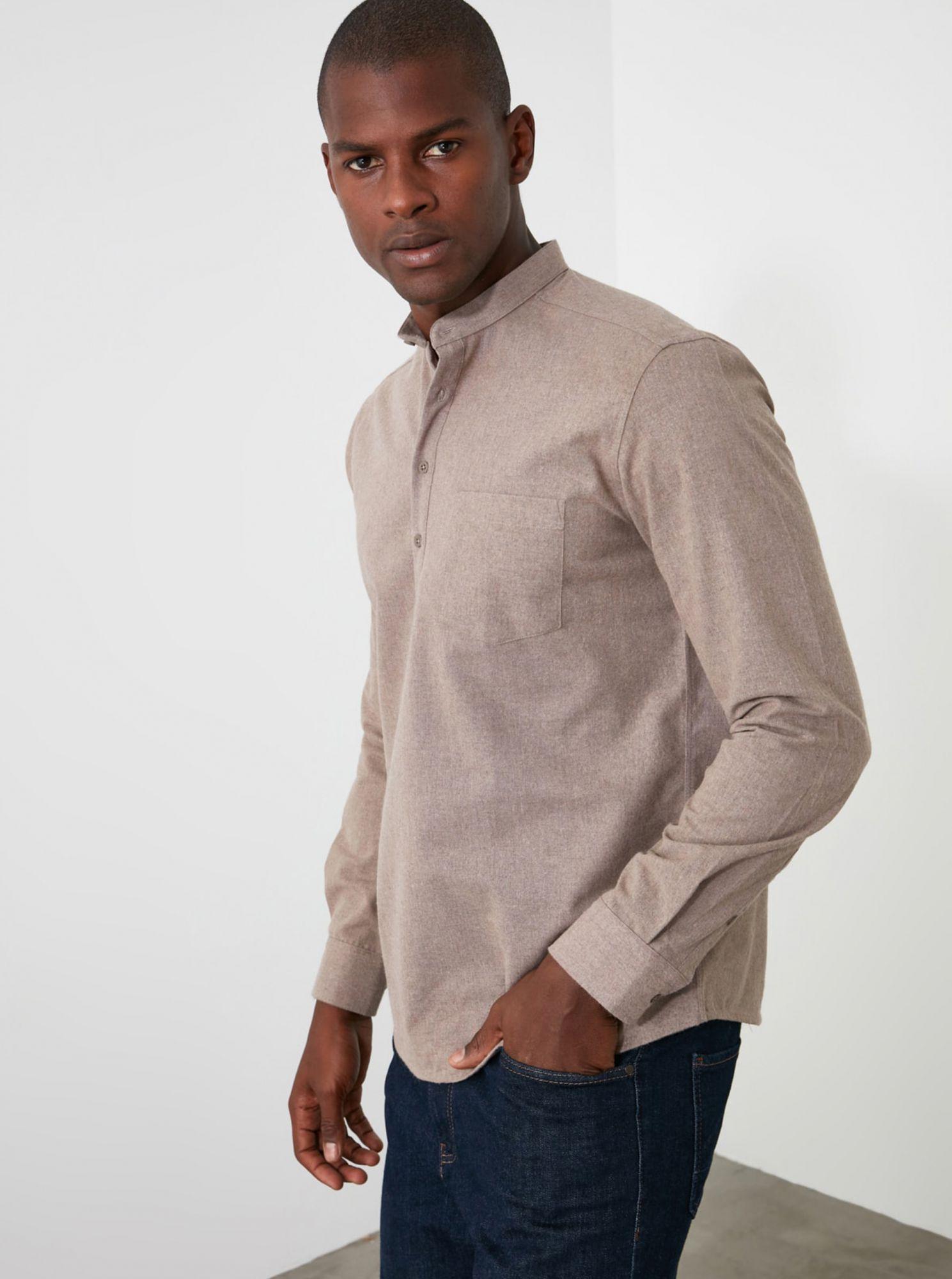 Trendyol béžová pánská košile