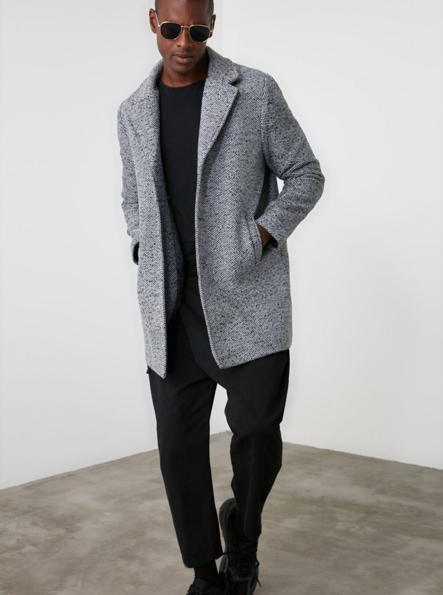 Trendyol světle šedý pánský kabát