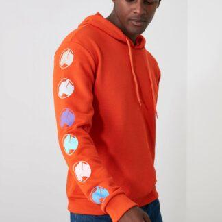 Trendyol oranžová pánská mikina s kapucí