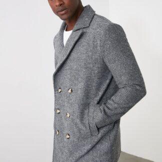 Trendyol šedý pánský kabát