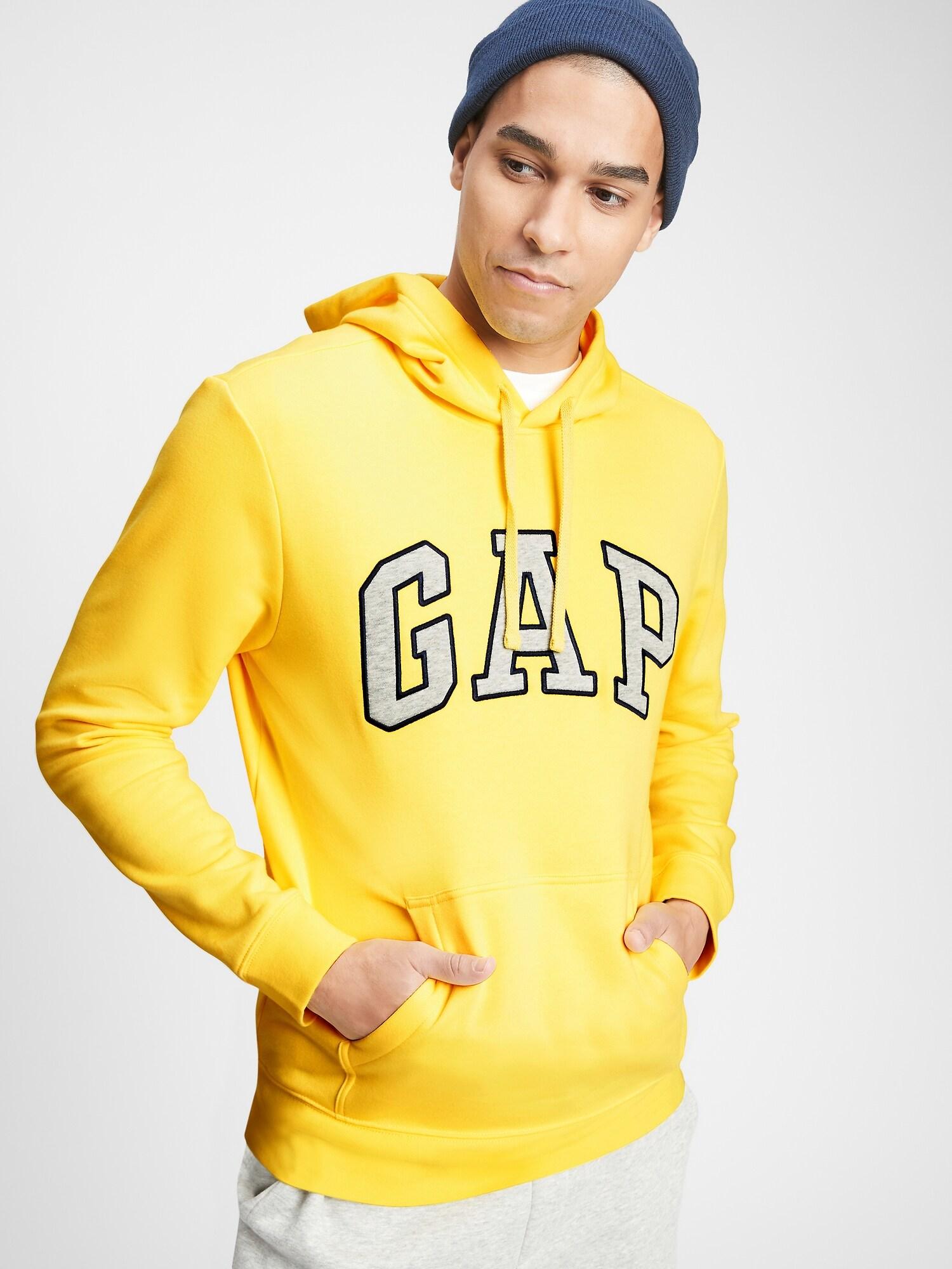 GAP žlutá pánská mikina s kapucí