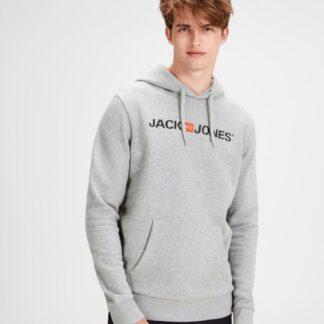 Jack & Jones šedá pánská mikina s kapucí