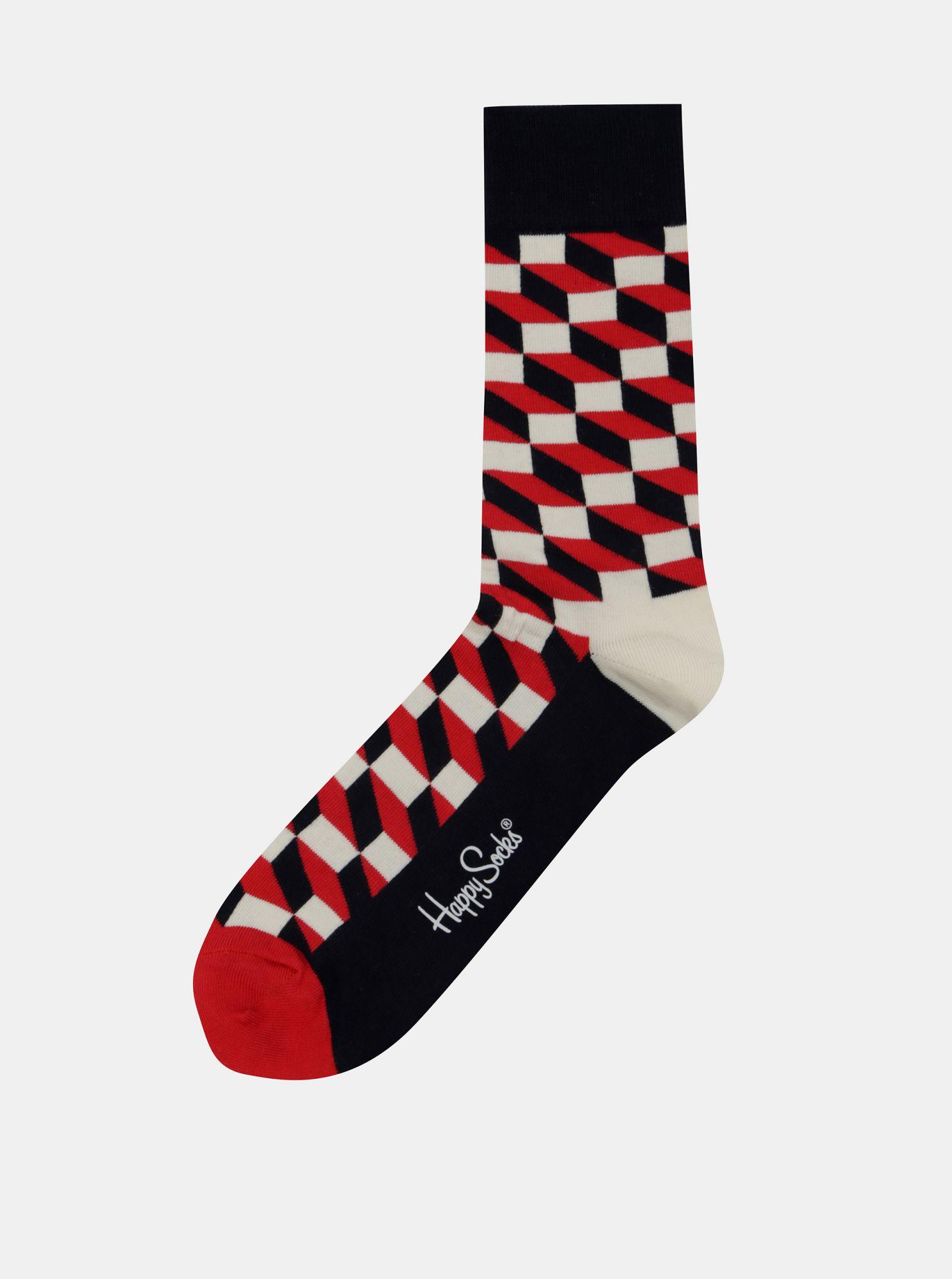 Červeno-bílé vzorované ponožky Happy Socks Filled Optic