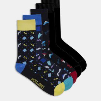 Jack & Jones černý 5 pack ponožek Pattern