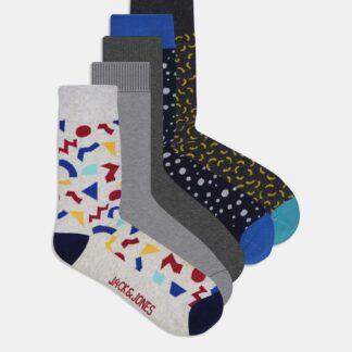 Jack & Jones šedý 5 pack ponožek Pops