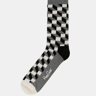 Ponožky v bílé, černé a šedé barvě Happy Socks Filled Optic