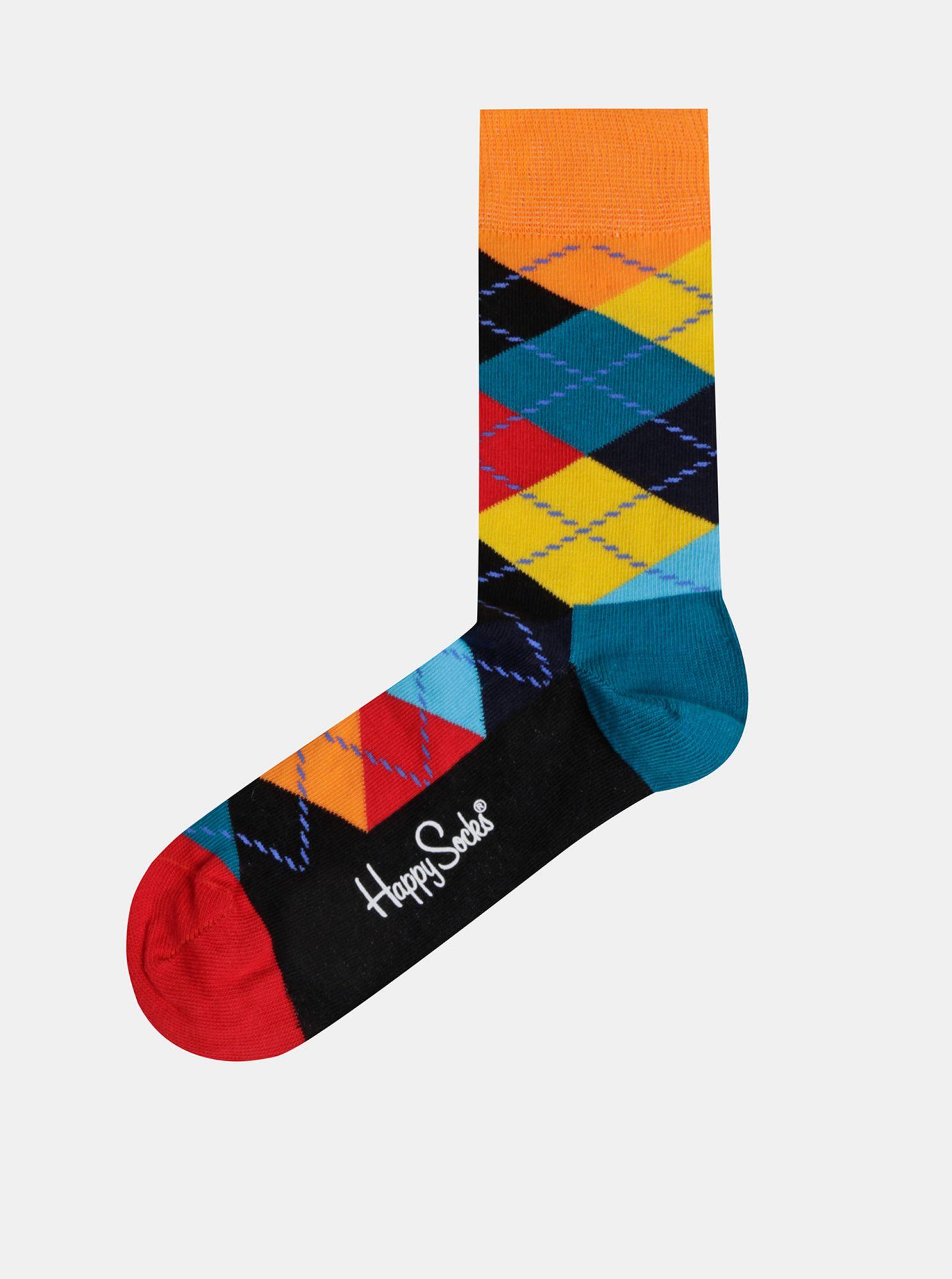 Oranžovo-modré vzorované ponožky Happy Socks Argyle