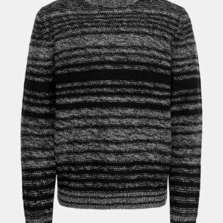 Šedo-černý pruhovaný svetr ONLY & SONS Callen