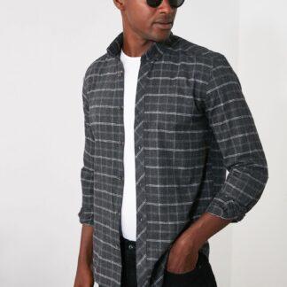 Šedá pánská kostkovaná košile Trendyol