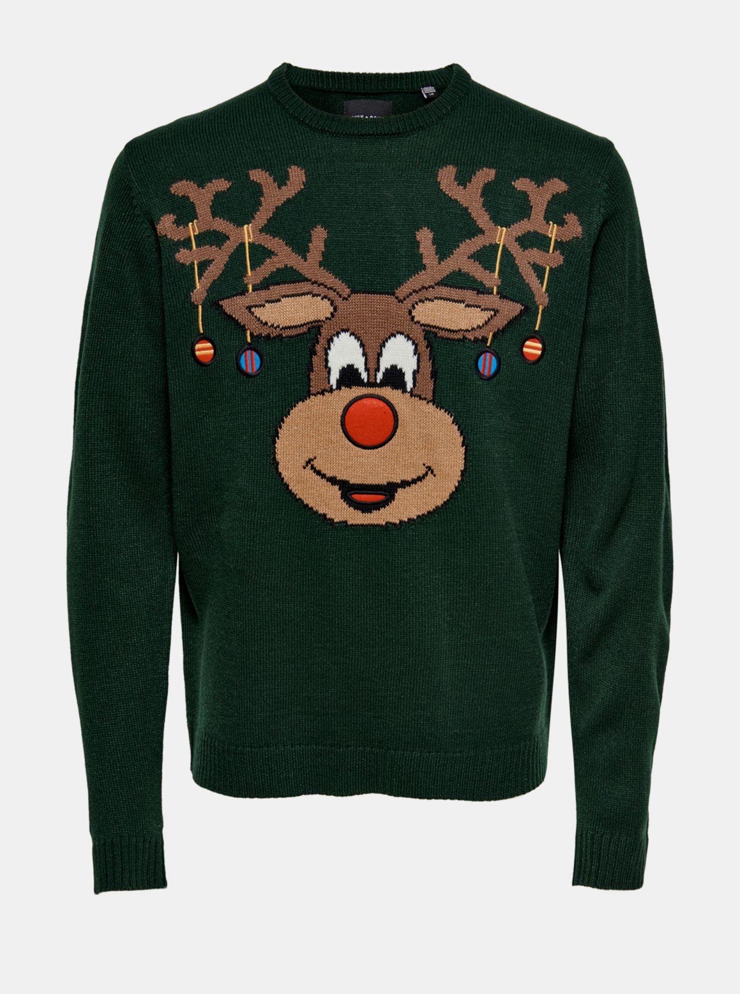 Zelený svetr s vánoční motivem ONLY & SONS Xmas
