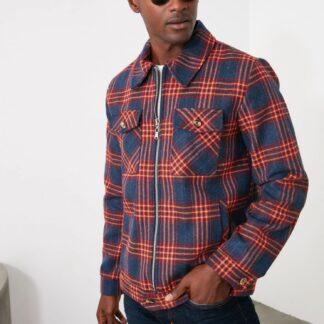 Červeno-modrá pánská kostkovaná bunda Trendyol