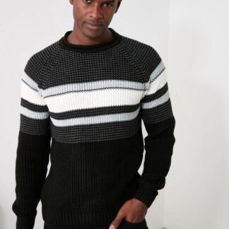 Šedo-černý pánský svetr Trendyol