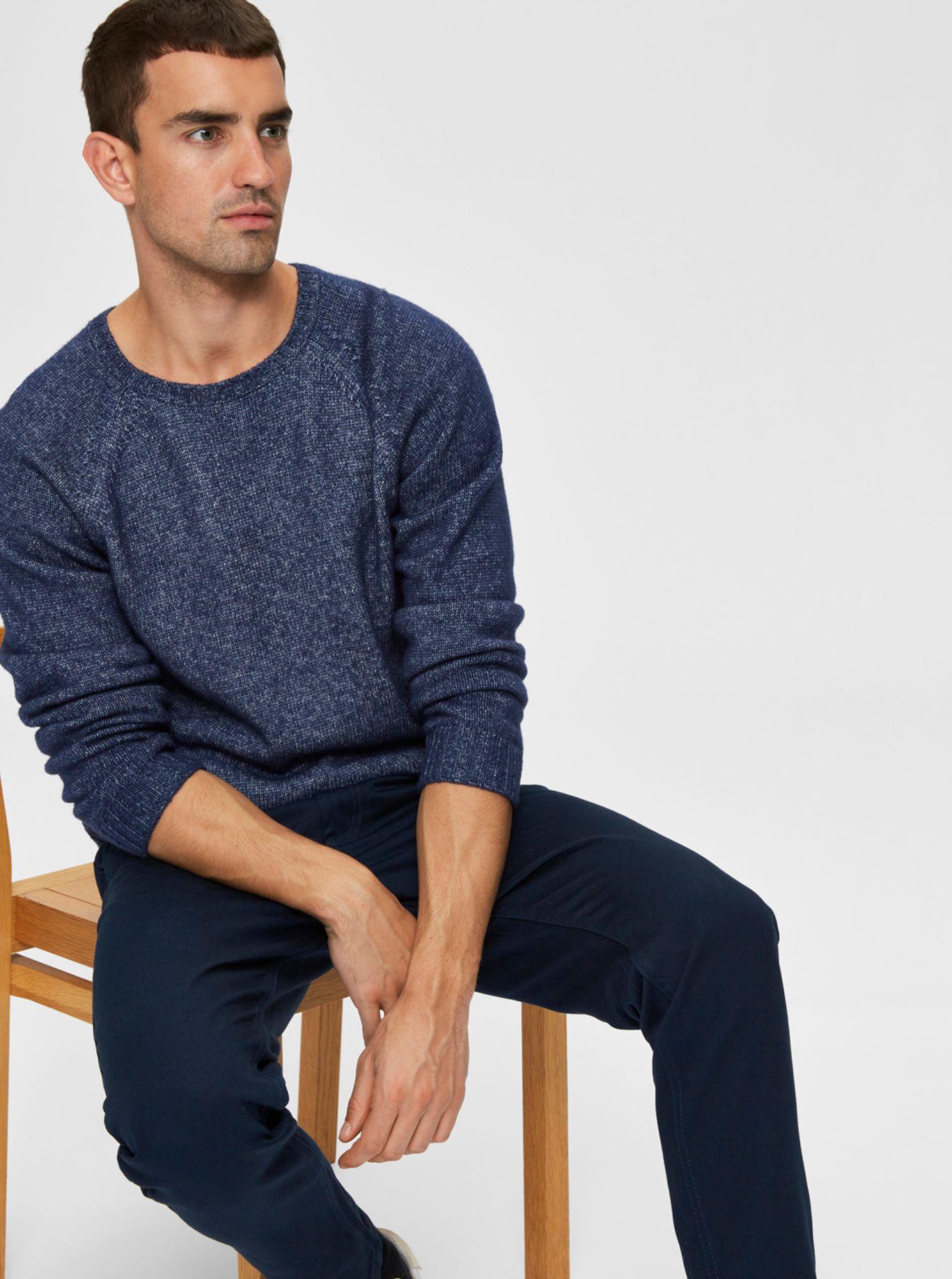 Selected Homme modrý pánský svetr