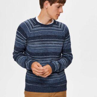 Selected Homme modrý pruhovaný pánský svetr