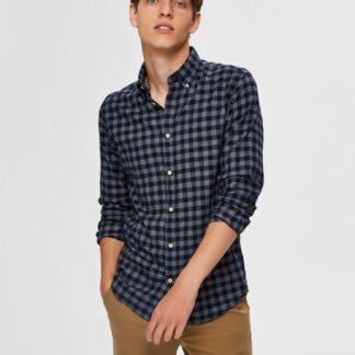 Selected Homme tmavě modrá kostkovaná košile Flannel