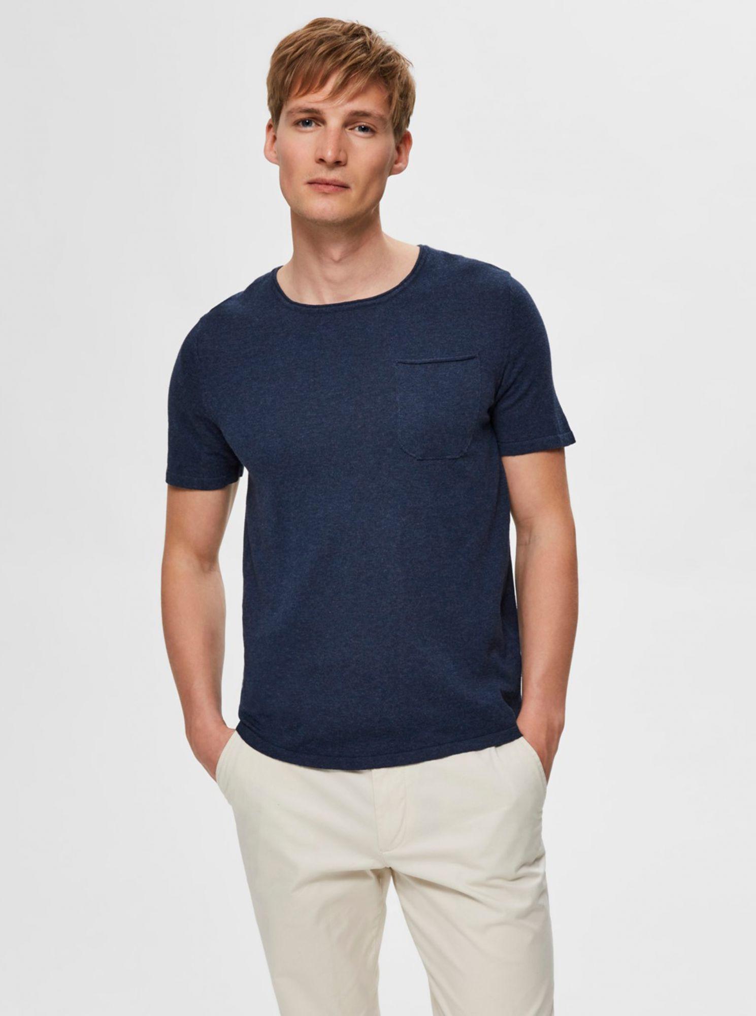 Selected Homme tmavě modré pánské basic tričko