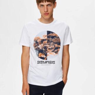 Selected Homme bílé pánské tričko Zander s potiskem