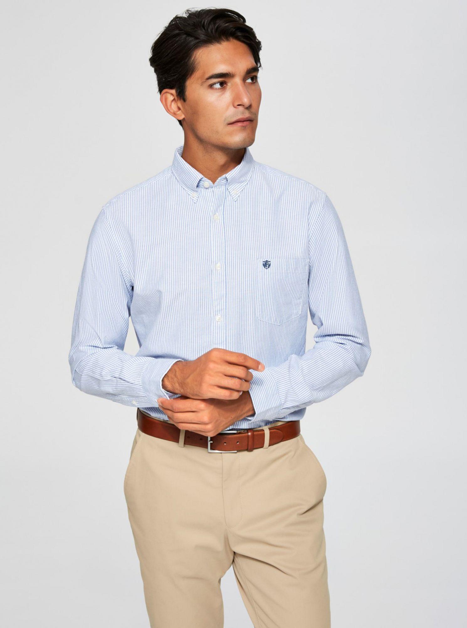 Selected Homme světle modrá pruhovaná košile Collect