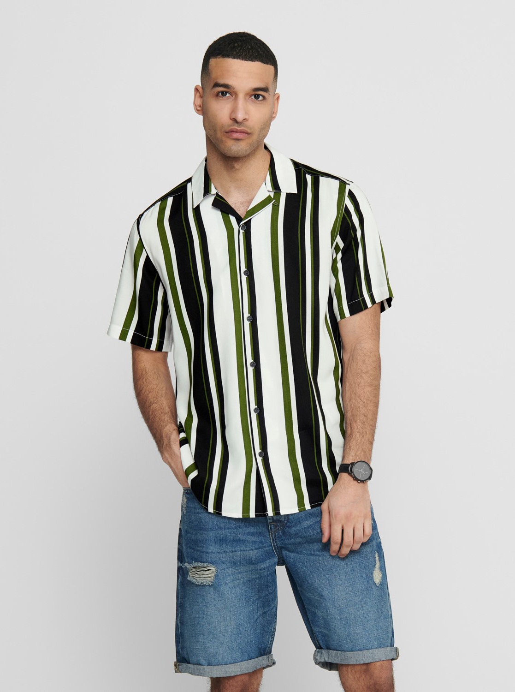 ONLY & SONS zeleno-bílá pruhovaná košile Wayni
